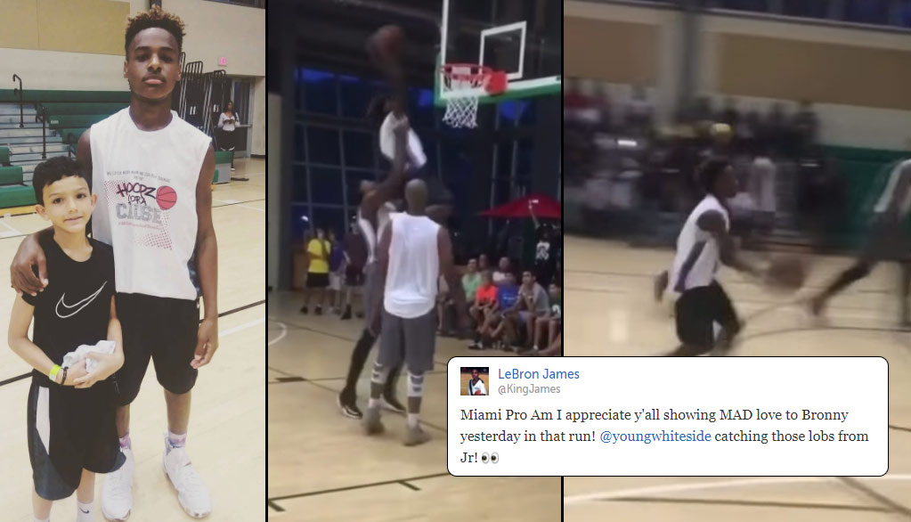 LeBron James Jr Took His Talents To The Miami Pro-Am, Dunks and Throws Lob To Hassan Whiteside