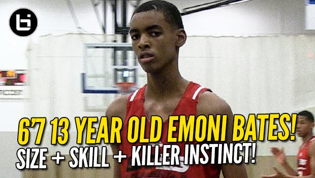 Emoni Bates 6'7 13 Year Old Has Size, Skill, Killer Instinct!