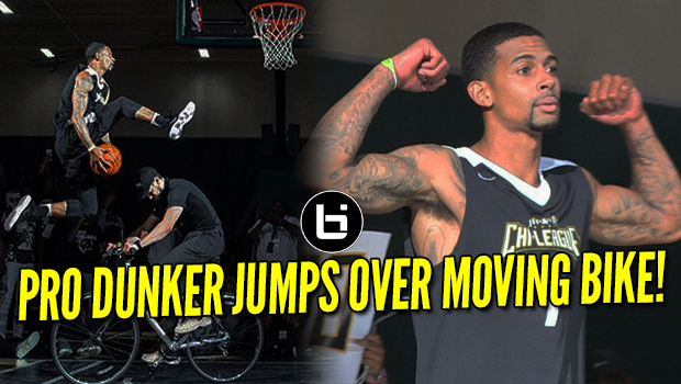 Pro Dunker Jumps Over Moving Bike! Chi League Dunk Contest Highlights!
