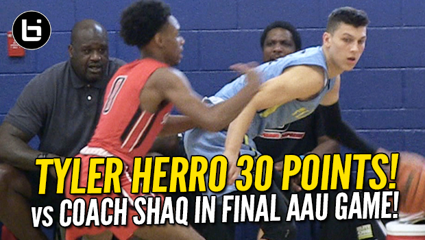 Wisconsin Commit Tyler Herro Scores 30 in Final AAU Game vs Coach Shaq!