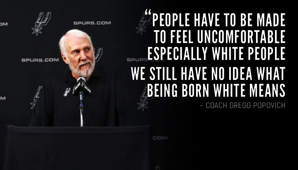 "Watch Gregg Popovich's Full ""We Still Have No Clue Of What Being Born White Means"" Media Day Speech"