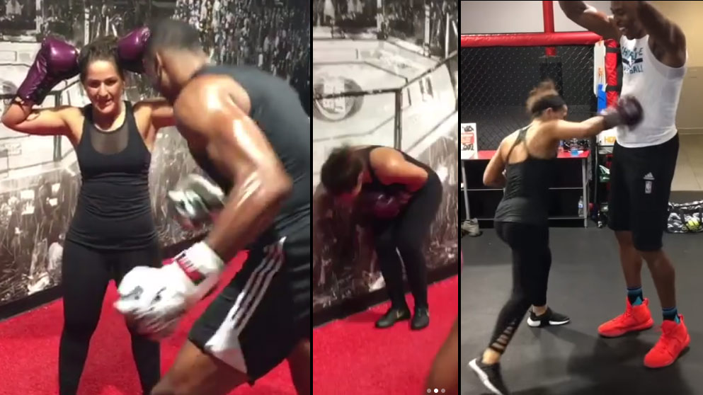 Dwight Howard Didn't Hold Back While Exchanging Body Punches With Female Fighter