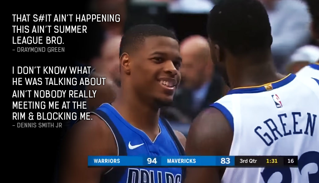 "Dennis Smith Jr Responds To Draymond Green's ""That $hit (Dunking On Me) Ain't Happening"" Message"