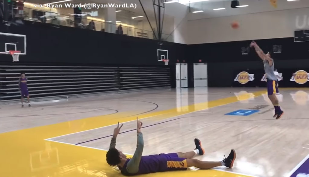 Lonzo Ball Talking Trash With Kyle Kuzma During A Half Court Shot Competition