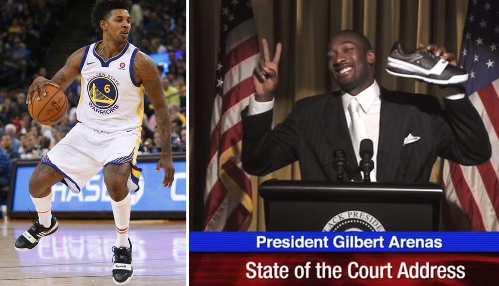 "Nick Young Wears Gilbert Arenas ""Black Presidents"" In Warriors Debut"
