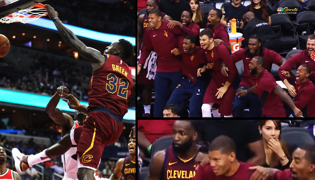 Cavs Bench (Minus Kendrick Perkins) Erupts After Uncle Jeff Green Posterized Mahinmi