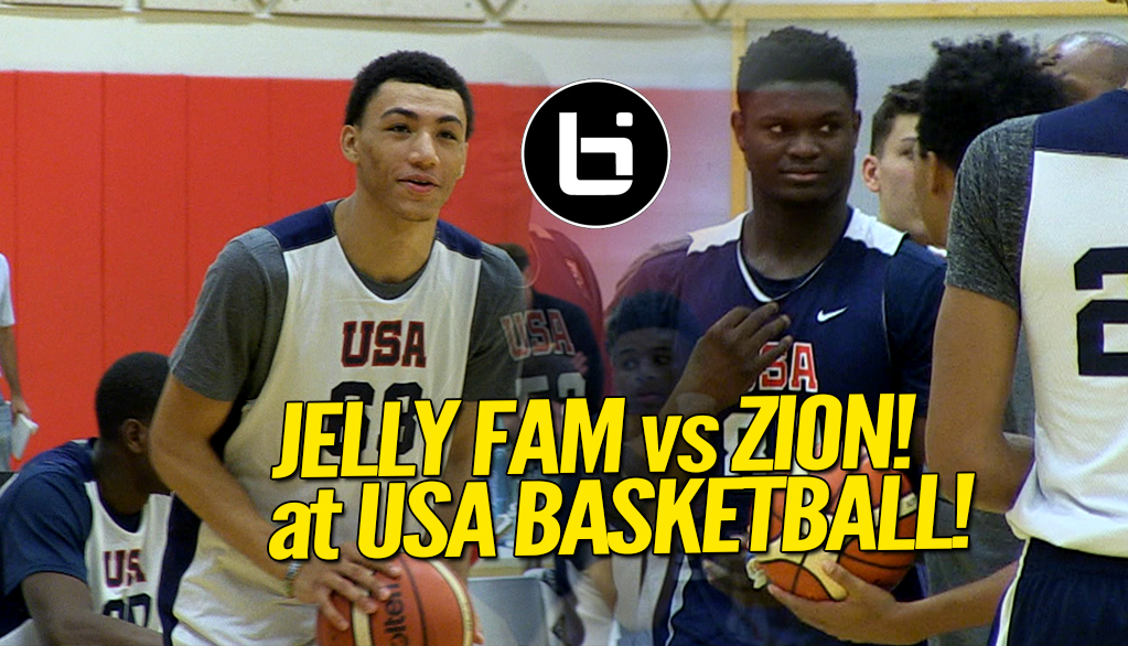 Zion Williamson vs 'Jelly Fam' Jahvon Quinerly! USA Basketball Highlights