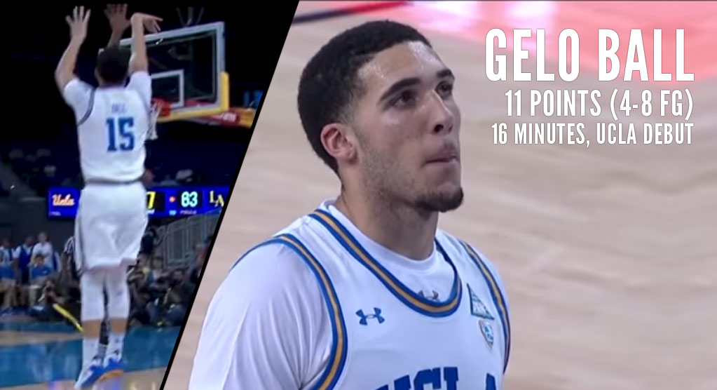 UCLA Debut: LiAngelo Ball Scores 11 in 16 Minutes Off The Bench