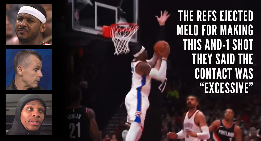 """Carmelo Anthony, Paul George & Russell Westbrook On """"BS"""" Officiating & Melo's """"Historic"""" Ejection vs Blazers"""