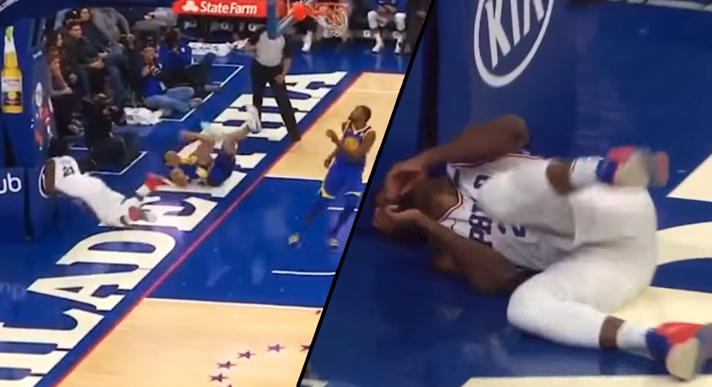 Joel Embiid Smashes His Face Against The Stanchion During 76ers Third Quarter Collapse