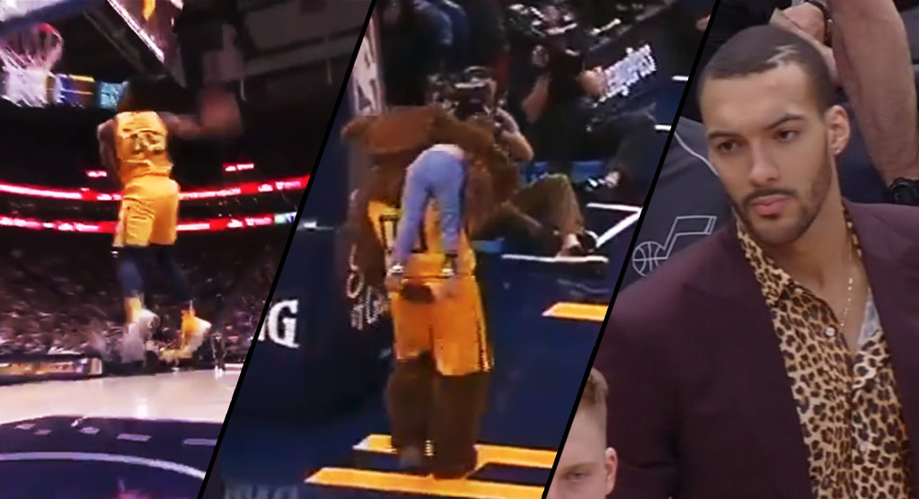 Donovan Mitchell Shows Off His Hops While The Jazz Mascot Showed Off His Kidnapped Kid