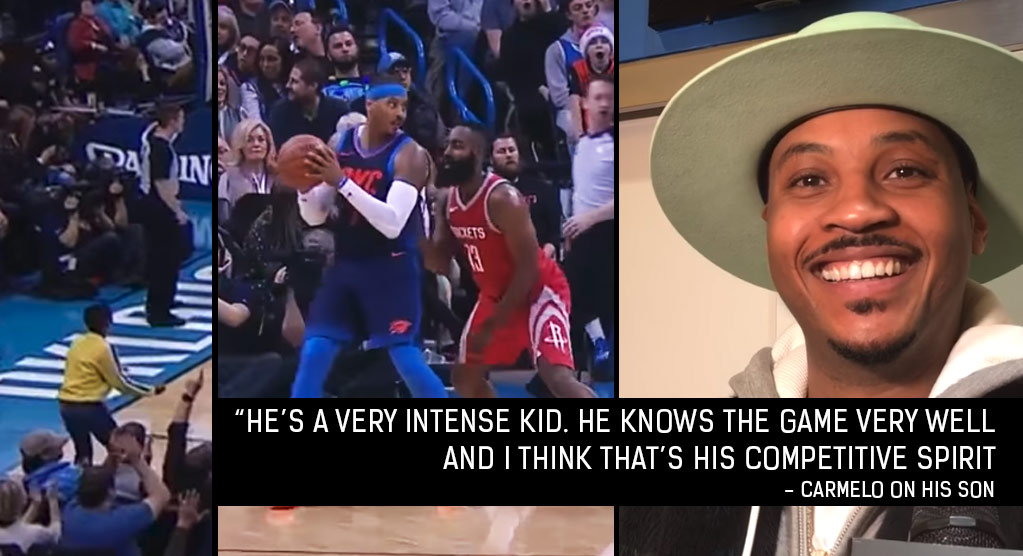 Carmelo Anthony's Intense 10-Year Old Son Celebrating After OKC Buckets