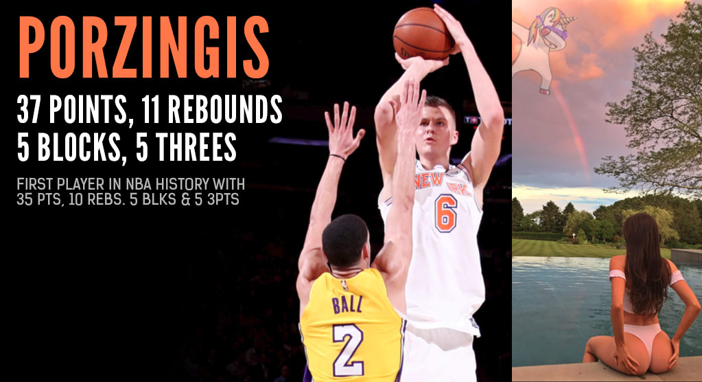 Kristaps Porzingis Put On A Historic Performance In Front Of Model Jen Selter