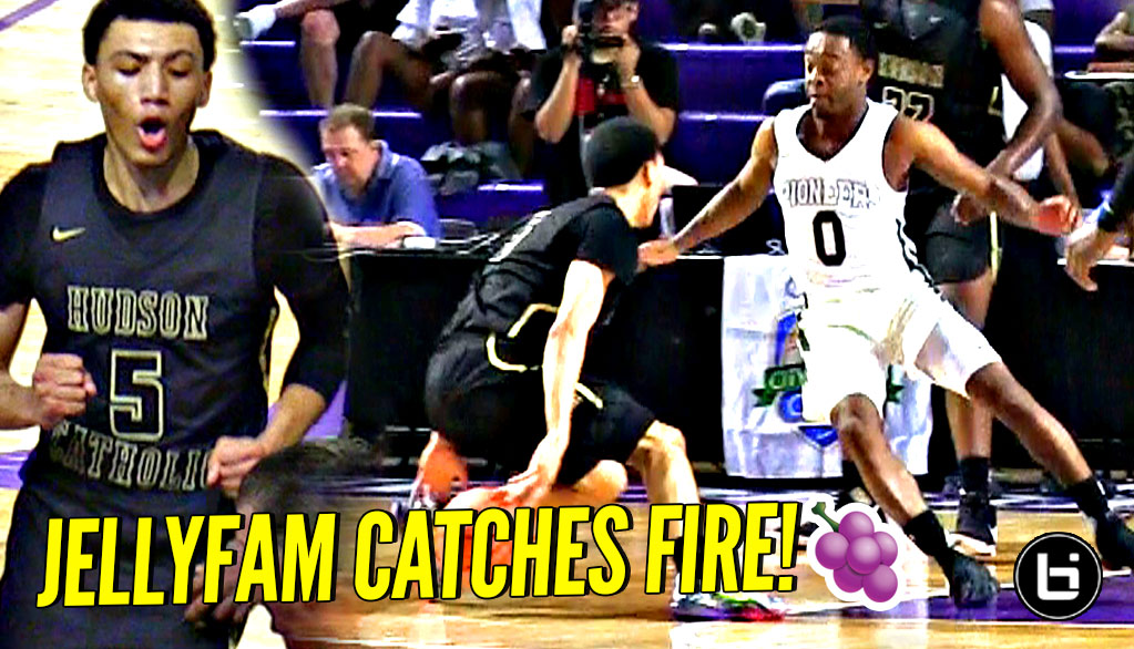 dc1cfca029de JellyFam Jahvon Quinerly vs Damon Harge PG BATTLE!! JQ CATCHES FIRE LATE in  DOWN ...
