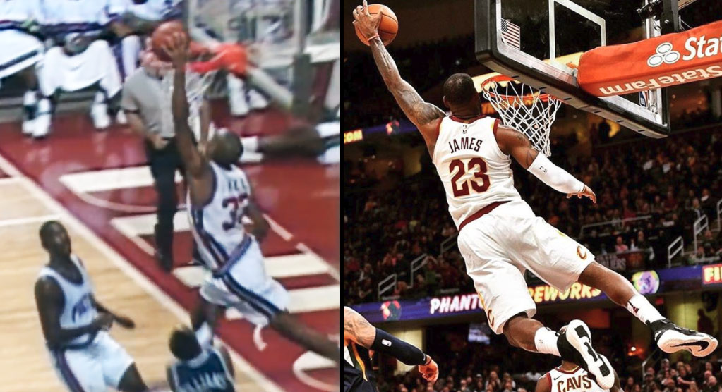 "LeBron James Reenacts Grant Hill's ""Buckle Up"" Lefty Alley-Oop Dunk"