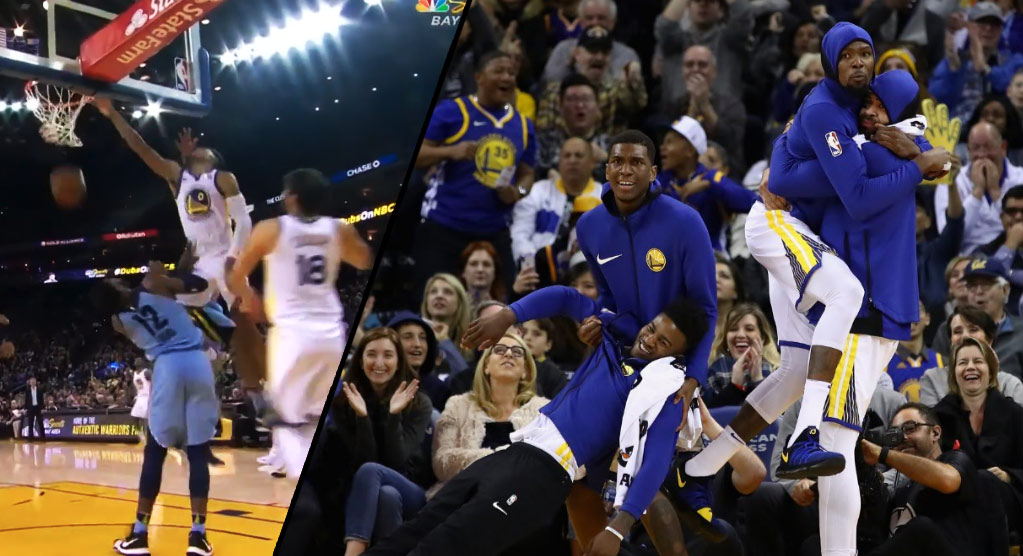 Patrick McCaw's Putback Dunk Gave Us One Of The Best Warriors Bench Reactions Ever
