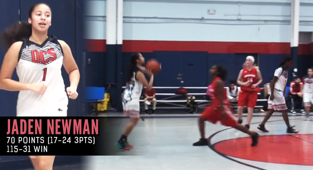 8th Grader Jaden Newman Adds 70 Point Game with 17 Threes To Her Impressive Resume