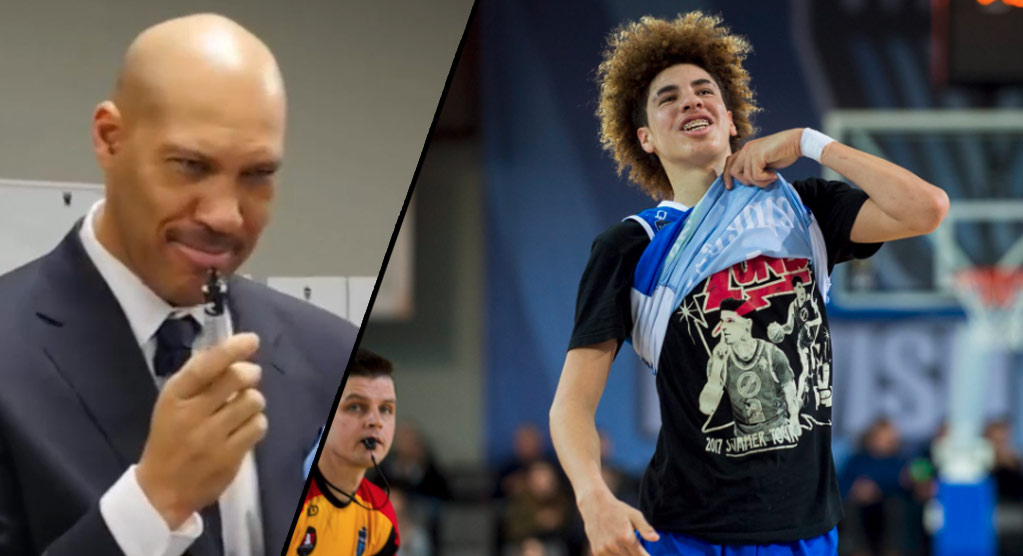 LaMelo Ball Scores 40, Dunks, Then Shows Off His Lonzo Shirt During LaVar Ball's Head Coaching Debut
