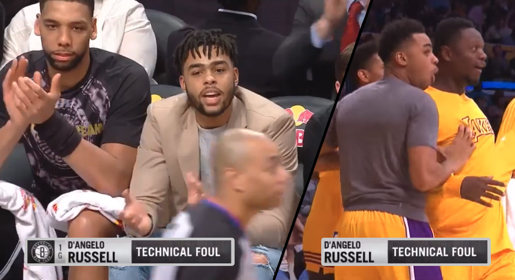 D'Angelo Russell Getting A Tech For Clapping On The Bench Isn't His Most Ridiculous Tech