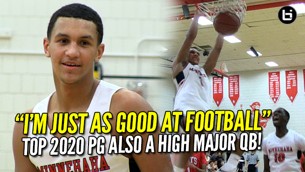 5-Star Guard or High Major College Quarterback? Freak Athlete! 2-Sport Star Jalen Suggs Minnehaha Academy Basketball Highlights and Interview!