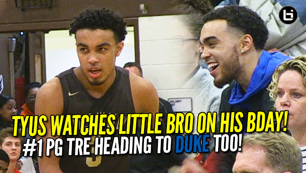 Tyus Jones Watches Younger Brother Tre Jones on his Birthday! 2018 #1 Point Guard Going to DUKE Too!