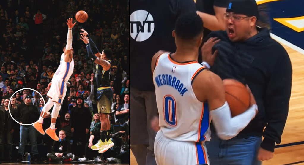 Russell Westbrook Pushes Nuggets Fan After Gary Harris' Game-Winner