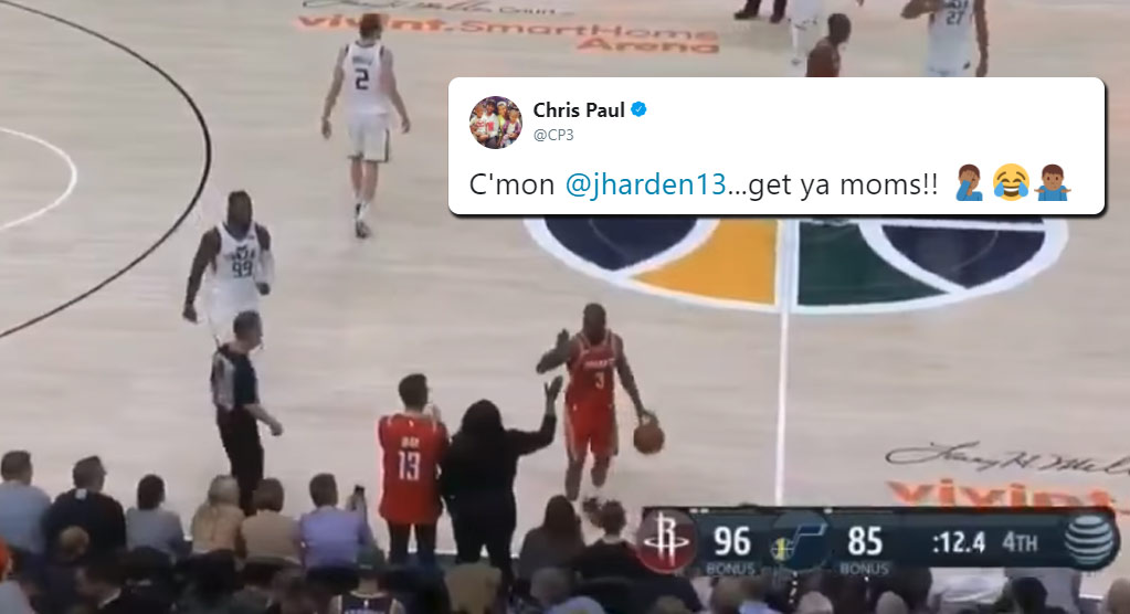 Chris Paul High Fives James Harden's Mom In Finals Seconds, Ref Calls Out Of Bounds On CP3