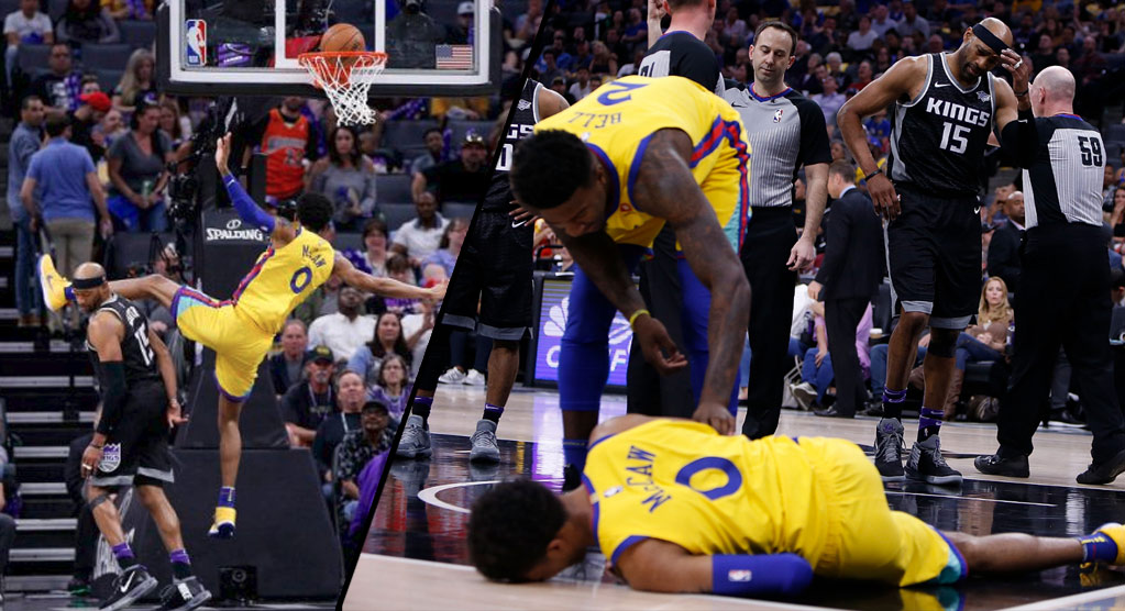Patrick McCaw Leaves Game In A Stretcher After Being Undercut By Vince Carter