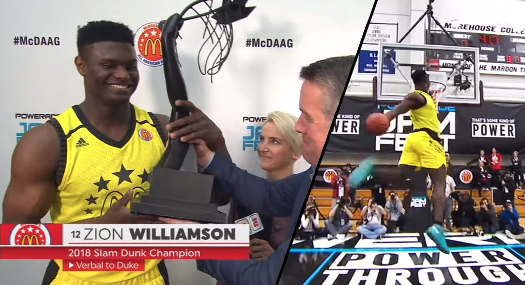 Slimmer Zion Williamson Wins McDonalds HS Dunk Contest