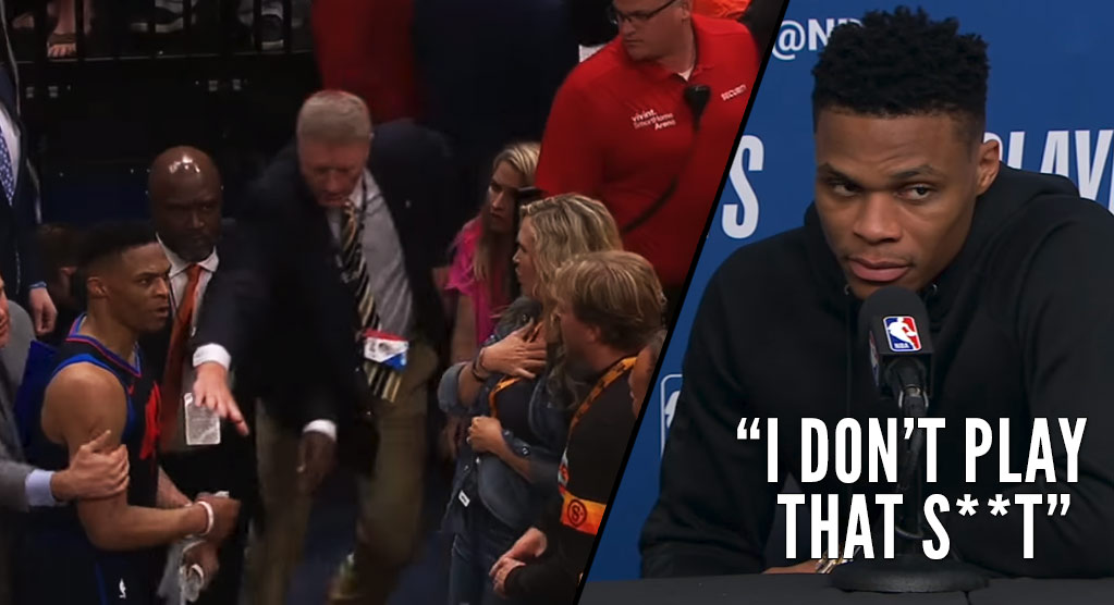 Russell Westbrook Goes Off On Utah Fans After Slapping At A Fan's Phone