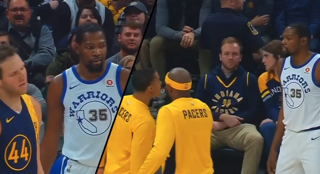 """Kevin Durant Mean Mugging & Trash Talking To Joey Buckets During """"Embarrassing"""" Loss"""