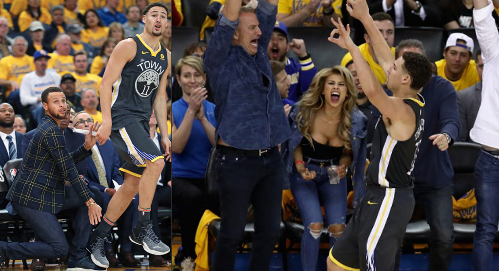 Best Reaction To Klay Thompson's Shots In GM2: Steph Curry or That Courtside Fan?