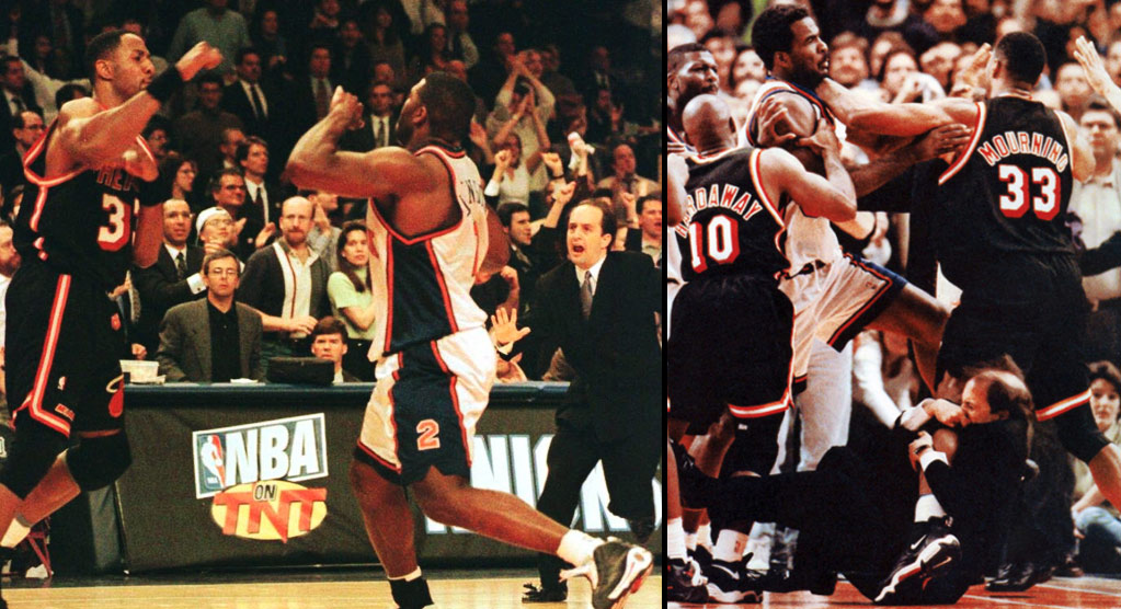 Remembering The Awful Larry Johnson vs Alonzo Mourning Fight aka The Van Gundy Leg Game