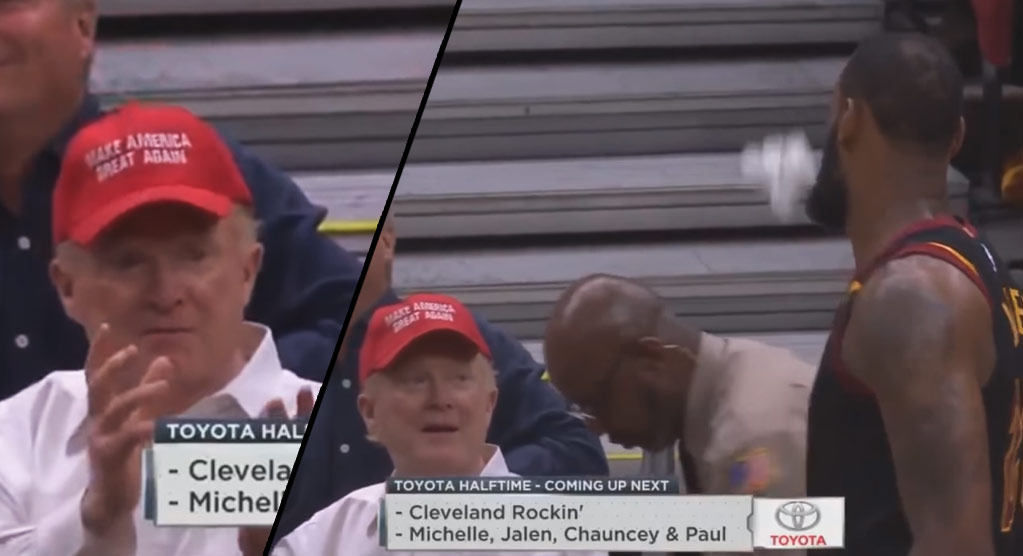 LeBron Snubs Donald Trump Supporter By Throwing A Towel Behind Him