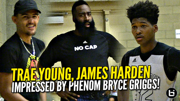 James Harden & Trae Young IMPRESSED By Phenom Bryce Griggs vs Peach Jam 16U Champs Woodz Elite!