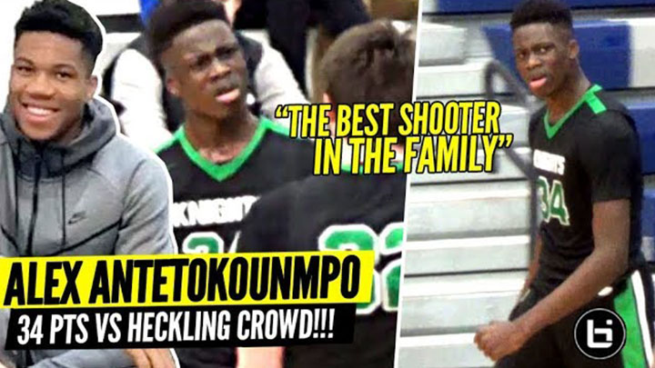 Giannis' Lil Bro Alex Antetokounmpo 34 Pts vs Heckling Crowd! The BEST Shooter In The Family!?