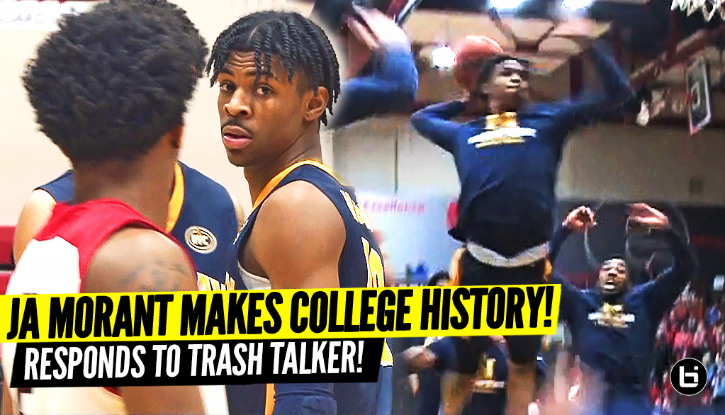 JA MORANT RESPONDS TO TRASH TALKER!! DROPS 40 POINTS TO MAKE COLLEGE HISTORY!