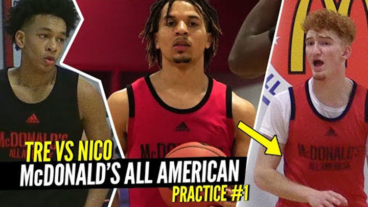 Nico Mannion, Cole Anthony & Tre Mann GO AT IT at 1st McDonald's All American Practice!
