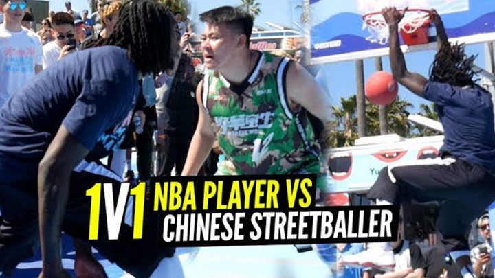 "Montrezl Harrell and Chinese Streetballer ""Soy Sauce"" Go 1 on 1 at Venice Beach!"