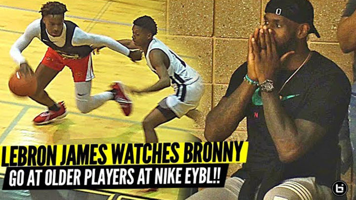 Bronny James Makes Nike EYBL Debut vs Older Players with Lebron Watching!
