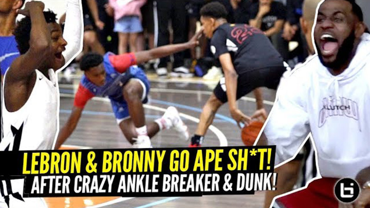 LeBron & Bronny Lose Their Mind After Crazy Ankle Breaker & Nasty Poster Dunk!!!