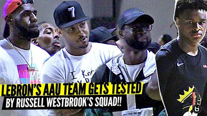 LeBron, DWade, & Melo watch Bronny James vs Russell Westbrook's Team at Nike EYBL!!