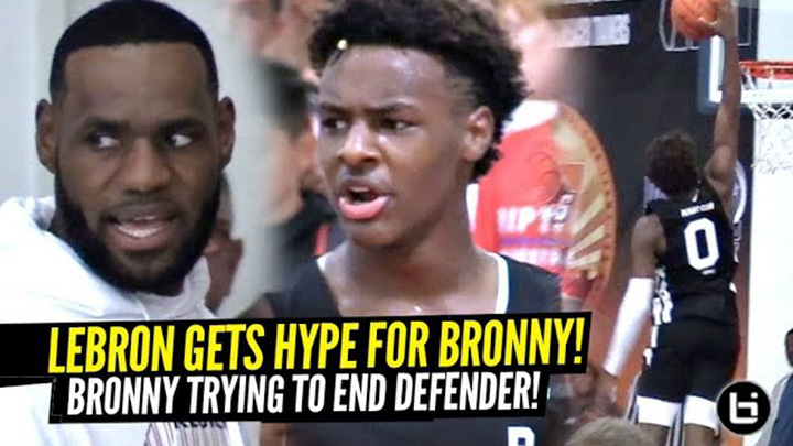 Lebron Gets Hype Watching Bronny Almost Posterize Defender!