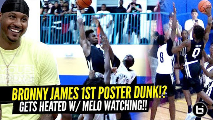 Bronny James Attempts 1st POSTER DUNK w/ Carmelo Anthony Watching!!