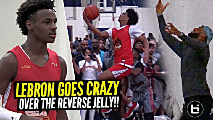 LeBron James Goes CRAZY Over NASTY Reverse Jelly By Bronny's Teammate Skyy Clark!!