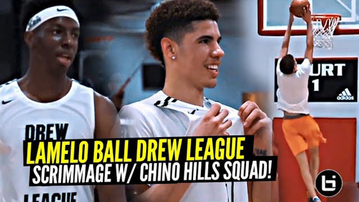 LaMelo Ball Full Drew League Scrimmage!! Melo's Back w/ Chino Hills Teammates & Looking SCARY Good!!