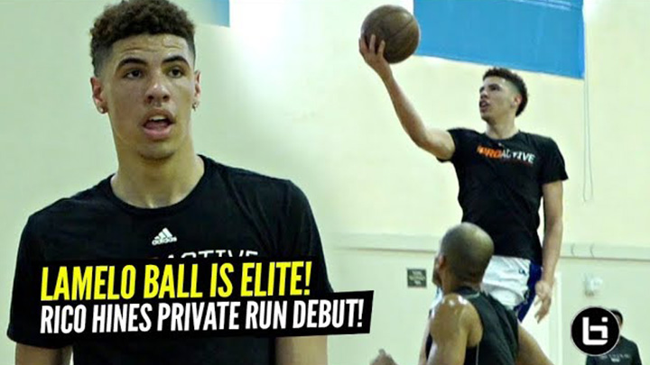 LaMelo Ball vs NBA Pros at Rico Hines Private Runs!! Melo Shows Off His ELITE Passing!!