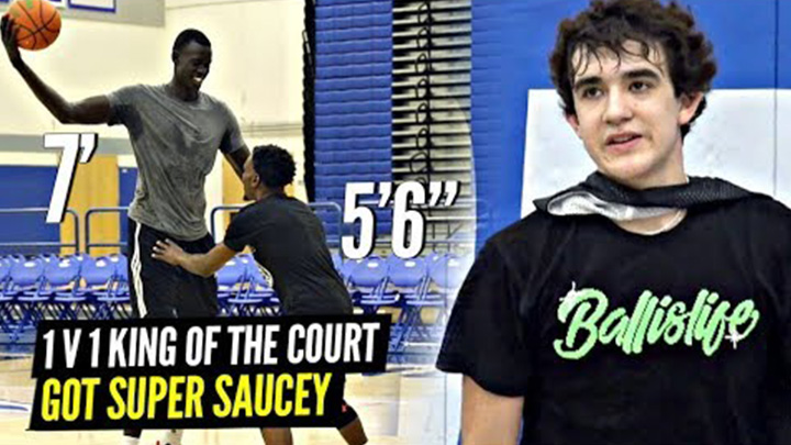 5'6 Aquille Carr vs 7′ Makur Maker in 1v1 King of the Court? Isa Silva Had it Cooking!