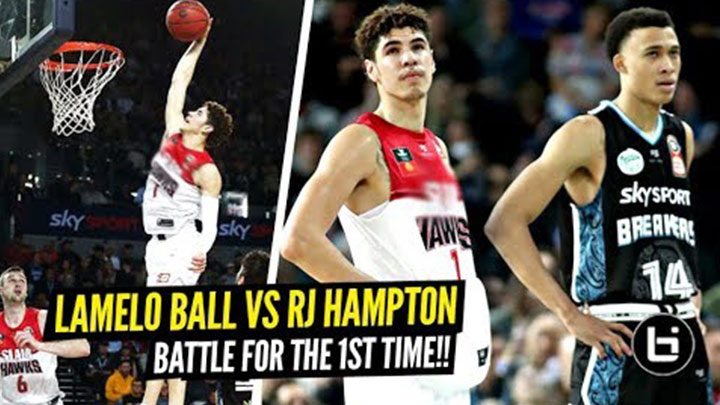 LaMelo Ball and RJ Hampton Match up for the First Time in Front of 17 NBA Scouts! Melo Throws Down Nasty Putback!