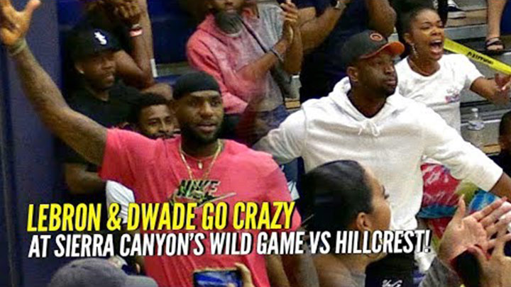 LeBron & D-Wade Get Hyped for Bronny & Zaire at Sierra Canyon vs Mike Bibby's Hillcrest!